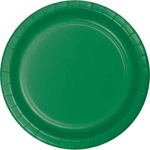 "Emerald Green Bulk Party Dinner Paper Plates 9"" (240/Case)-Solid Color Party Tableware-Creative Converting-240-"