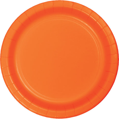 "Orange Bulk Party Dinner Paper Plates 9"" (240/Case)-Solid Color Party Tableware-Creative Converting-240-"