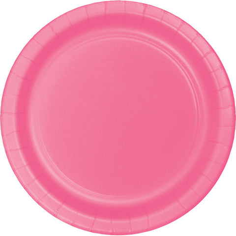 "Candy Pink Bulk Party Dinner Paper Plates 9"" (240/Case)-Solid Color Party Tableware-Creative Converting-240-"