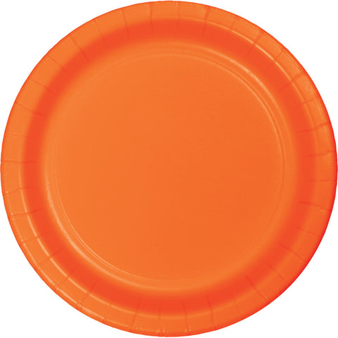 "Orange Bulk Party Banquet Dinner Paper Plates 10"" (240/Case)-Solid Color Party Tableware-Creative Converting-240-"