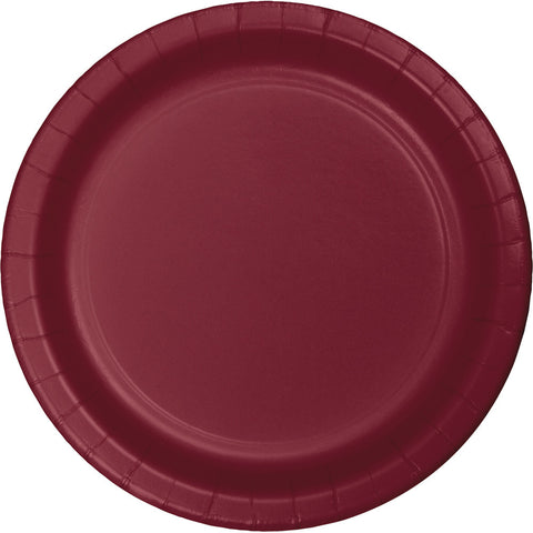 "Burgundy Bulk Party Banquet Dinner Paper Plates 10"" (240/Case)-Solid Color Party Tableware-Creative Converting-240-"