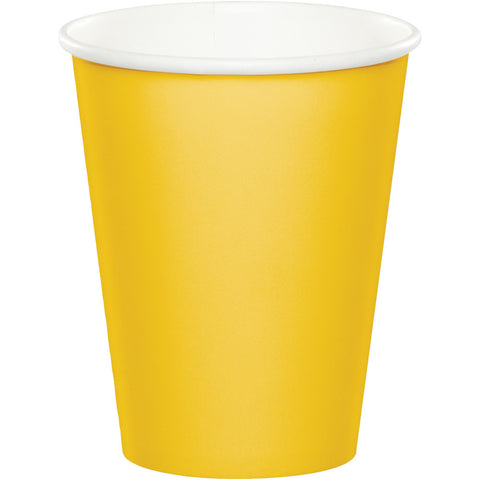 School Bus Yellow Bulk Party Hot/Cold Paper Cups 9 oz. (240/Case)-Solid Color Party Tableware-Creative Converting-240-