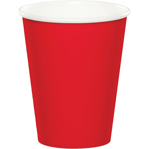 Red Bulk Party Hot/Cold Paper Cups 9 oz. (240/Case)-Solid Color Party Tableware-Creative Converting-240-