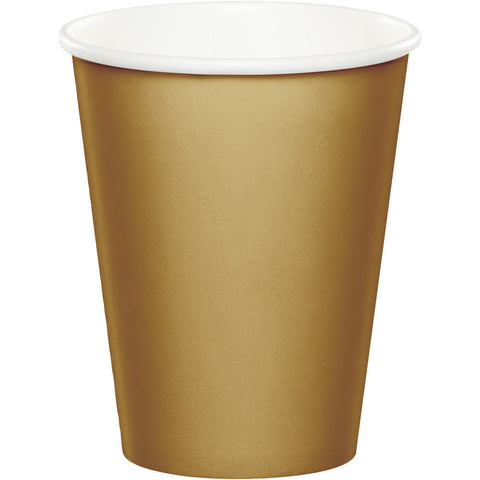 Gold Bulk Party Hot/Cold Paper Cups 9 oz. (240/Case)-Solid Color Party Tableware-Creative Converting-240-