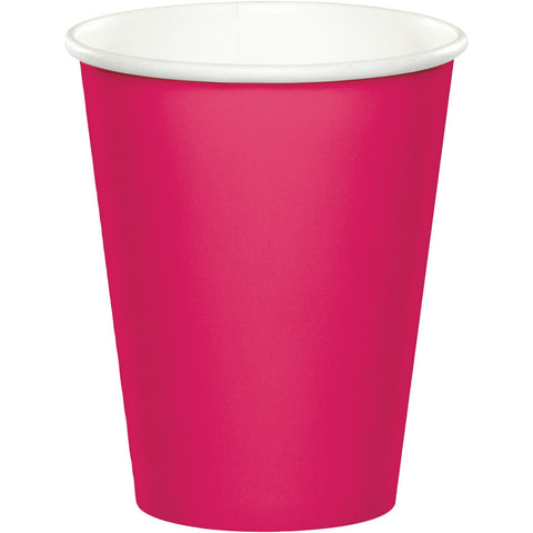 Hot Magenta Pink Bulk Party Hot/Cold Paper Cups 9 oz. (240/Case)-Solid Color Party Tableware-Creative Converting-240-