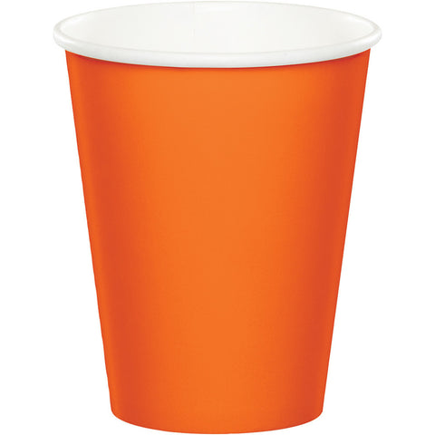 Orange Bulk Party Hot/Cold Paper Cups 9 oz. (240/Case)-Solid Color Party Tableware-Creative Converting-240-