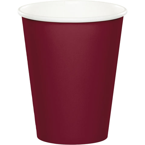Burgundy Bulk Party Hot/Cold Paper Cups 9 oz. (240/Case)-Solid Color Party Tableware-Creative Converting-240-