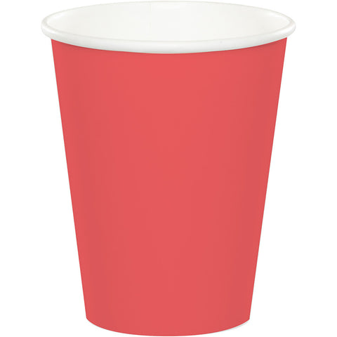 Coral Bulk Party Hot/Cold Paper Cups 9 oz. (240/Case)-Solid Color Party Tableware-Creative Converting-240-