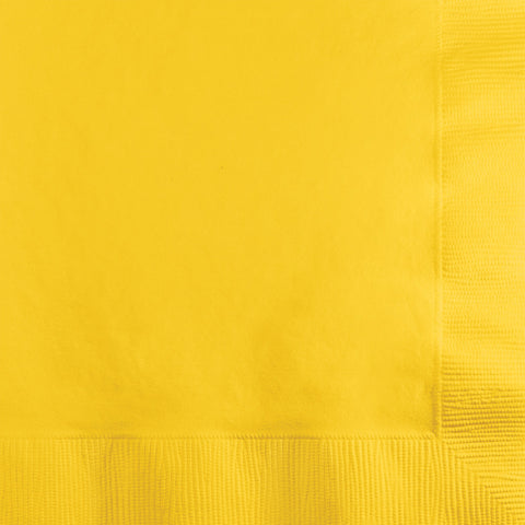 School Bus Yellow Bulk Party 3 Ply Beverage Napkins (500/Case)