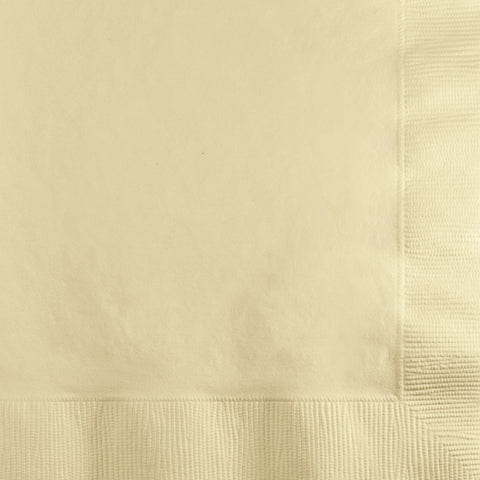 Ivory Bulk Party 3 Ply Beverage Napkins (500/Case)-Solid Color Party Tableware-Creative Converting-500-
