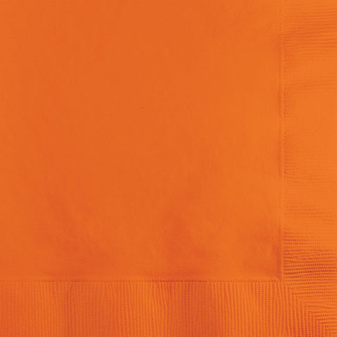 Orange Bulk Party 3 Ply Beverage Napkins (500/Case)-Solid Color Party Tableware-Creative Converting-500-