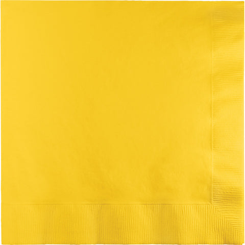 School Bus Yellow Bulk Party 3 Ply Lunch Napkins (500/Case)-Solid Color Party Tableware-Creative Converting-500-