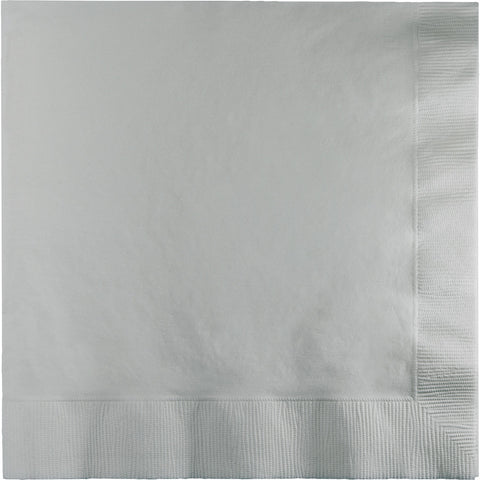 Silver Bulk Party 3 Ply Lunch Napkins (500/Case)-Solid Color Party Tableware-Creative Converting-500-