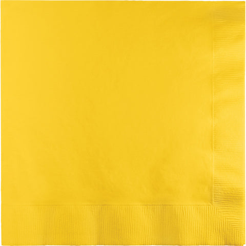 School Bus Yellow Bulk Party 3 Ply Dinner Napkins 1/4 Fold (250/Case)