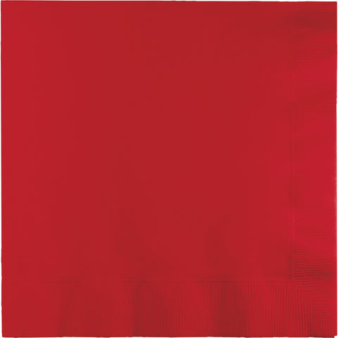 Red Bulk Party 3 Ply Dinner Napkins 1/4 Fold (250/Case)-Solid Color Party Tableware-Creative Converting-250-