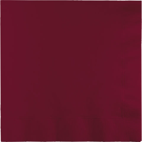 Burgundy Bulk Party 3 Ply Dinner Napkins 1/4 Fold (250/Case)