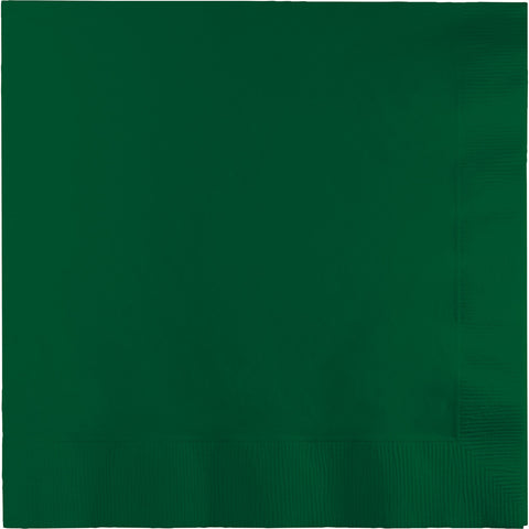 Hunter Green Bulk Party 3 Ply Dinner Napkins 1/4 Fold (250/Case)-Solid Color Party Tableware-Creative Converting-250-