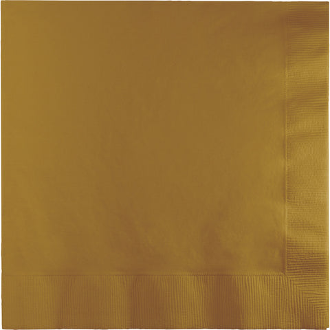 Gold Bulk Party 3 Ply Beverage Napkins (500/Case)