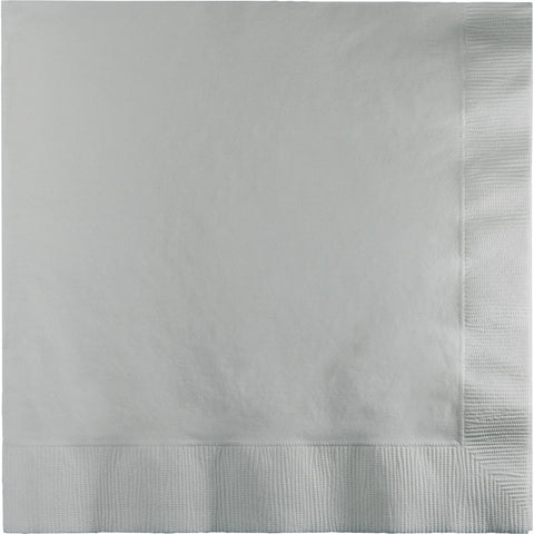 Silver Bulk Party 3 Ply Dinner Napkins 1/4 Fold (250/Case)