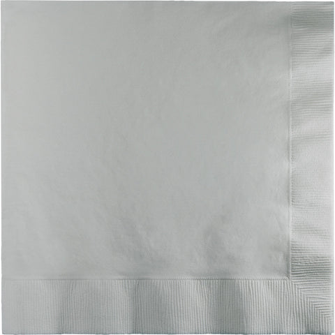 Silver Bulk Party 2 Ply Lunch Napkins (600/Case)-Solid Color Party Tableware-Creative Converting-600-