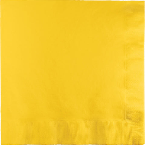 School Bus Yellow Bulk Party 2 Ply Lunch Napkins (600/Case)-Solid Color Party Tableware-Creative Converting-600-
