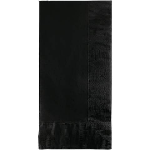 Black Bulk Party 2 Ply Dinner Napkins 1/8 Fold (600/Case)-Solid Color Party Tableware-Creative Converting-600-
