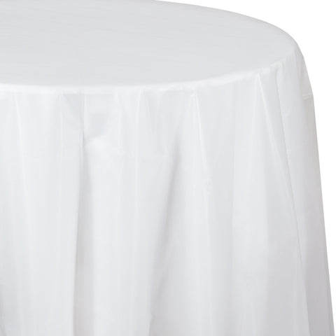 "Clear Bulk Party Round Plastic Tablecovers 82"" (12/Case)"