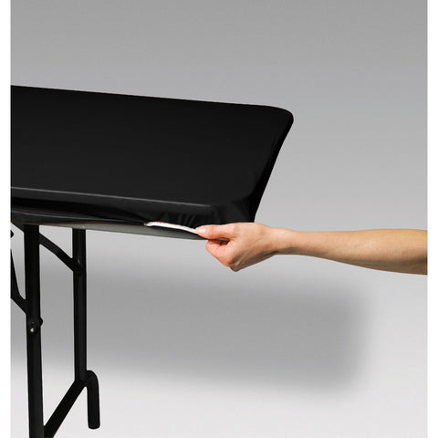 "Black Disposable Catering Rectangle Tablecovers Stay Put, 30"" x 96"""