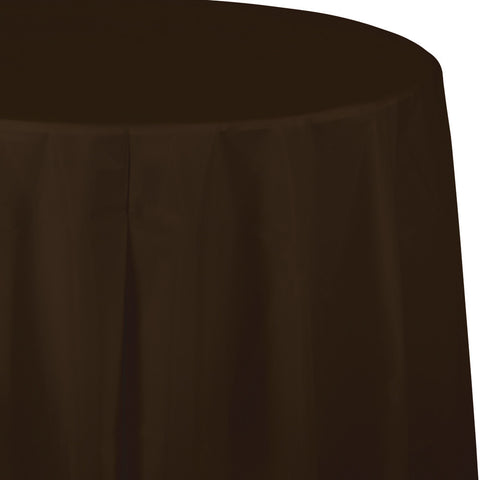"Brown Bulk Party Round Plastic Tablecovers 82"" (12/Case)-Solid Color Party Tableware-Creative Converting-12-"