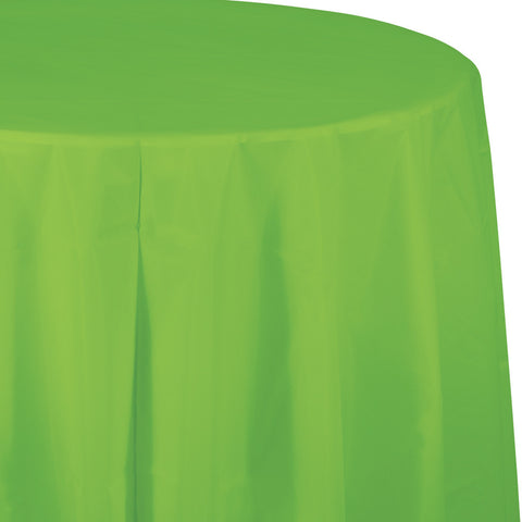 "Lime Green Bulk Party Round Plastic Tablecovers 82"" (12/Case)-Solid Color Party Tableware-Creative Converting-12-"