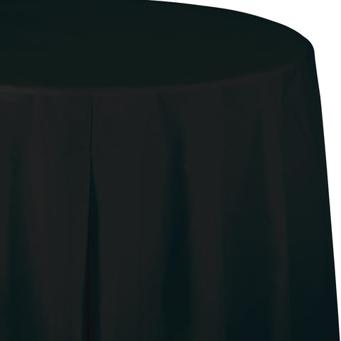 "Black Bulk Party Round Plastic Tablecovers 82"" (12/Case)"