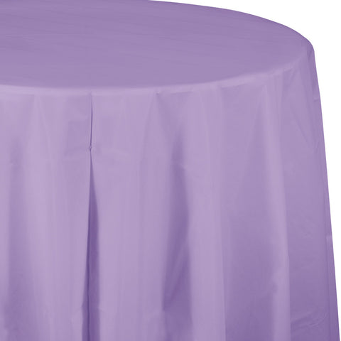 "Lavender Bulk Party Round Plastic Tablecovers 82"" (12/Case)-Solid Color Party Tableware-Creative Converting-12-"