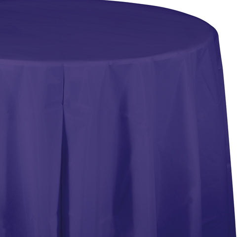 "Purple Bulk Party Round Plastic Tablecovers 82"" (12/Case)-Solid Color Party Tableware-Creative Converting-12-"