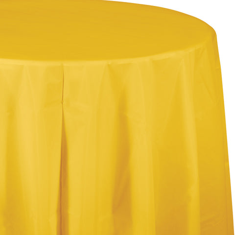 "School Bus Yellow Bulk Party Round Plastic Tablecovers 82"" (12/Case)-Solid Color Party Tableware-Creative Converting-12-"