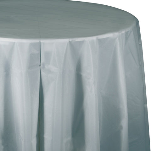 "Silver Bulk Party Round Plastic Tablecovers 82"" (12/Case)"
