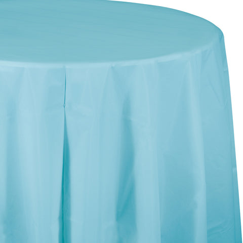"Baby Blue Bulk Party Round Plastic Tablecovers 82"" (12/Case)-Solid Color Party Tableware-Creative Converting-12-"