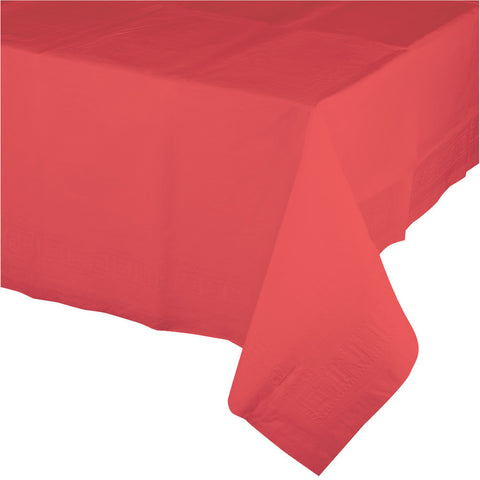 "Coral Bulk Party Paper Tablecovers 54""x 108"" (6/Case)-Solid Color Party Tableware-Creative Converting-6-"