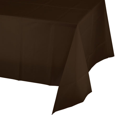 "Brown Bulk Party Plastic Tablecovers 54"" x 108"" (24/Case)"