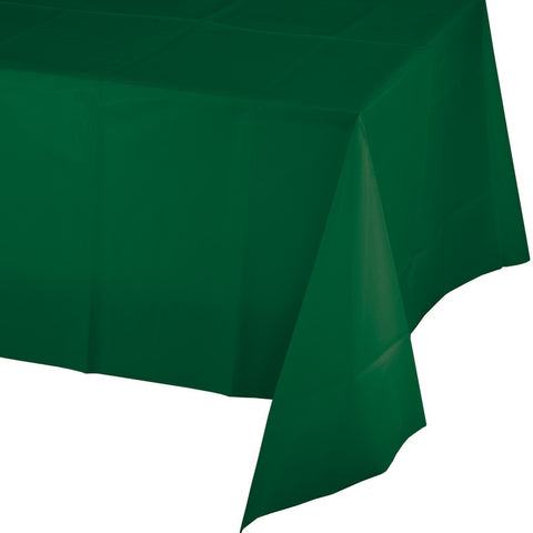 "Hunter Green Bulk Party Plastic Tablecovers 54"" x 108"" (12/Case)"