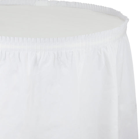 "White Bulk Party Tableskirts, 14' x 29"" (6/Case)"