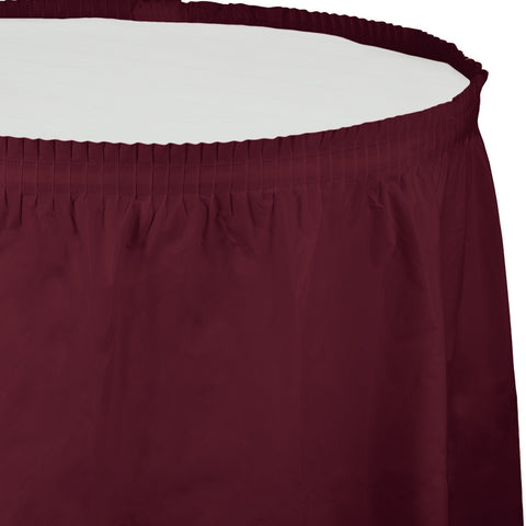 "Burgundy Bulk Party Tableskirts, 14' x 29"" (6/Case)-Solid Color Party Tableware-Creative Converting-6-"