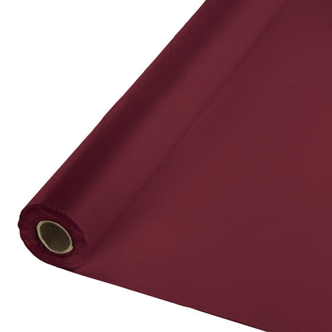 "Burgundy Bulk Party Plastic Tablecloth Rolls 40"" x 250' (1/Case)"