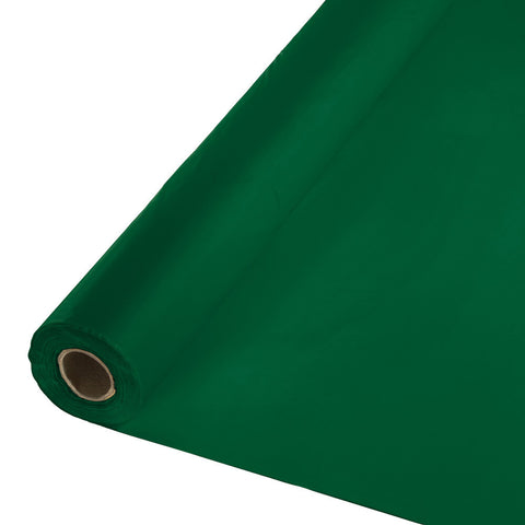 "Hunter Green Bulk Party Plastic Tablecloth Rolls 40"" x 250' (1/Case)"