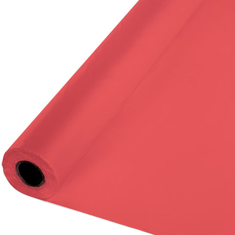 "Coral Bulk Party Plastic Tablecloth Rolls 40"" x 100' (1/Case)"