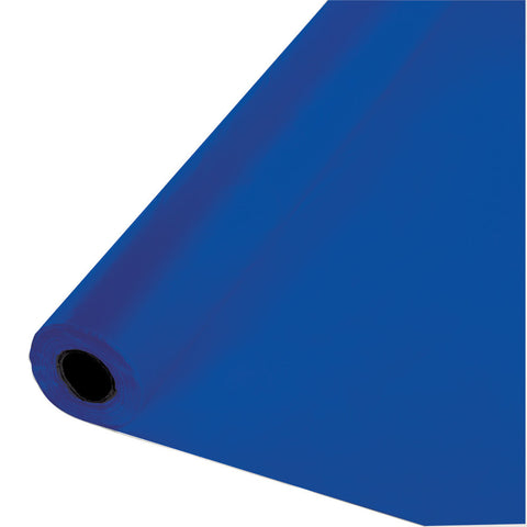 "Cobalt Blue Bulk Party Plastic Tablecloth Rolls 40"" x 250' (1/Case)"