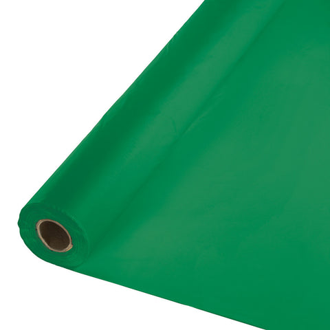 "Emerald Green Bulk Party Plastic Tablecloth Rolls 40"" x 250' (1/Case)"