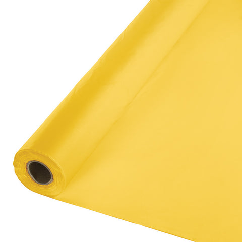 "School Bus Yellow Bulk Party Plastic Tablecloth Rolls 40"" x 250' (1/Case)-Solid Color Party Tableware-Creative Converting-1-"