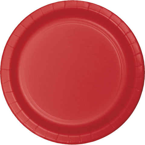 "Red Bulk Party Paper Lunch Plates 7"" (240/Case)-Solid Color Party Tableware-Creative Converting-240-"