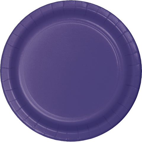 "Purple Bulk Party Paper Lunch Plates 7"" (240/Case)-Solid Color Party Tableware-Creative Converting-240-"