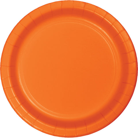 "Orange Bulk Party Paper Lunch Plates 7"" (240/Case)-Solid Color Party Tableware-Creative Converting-240-"